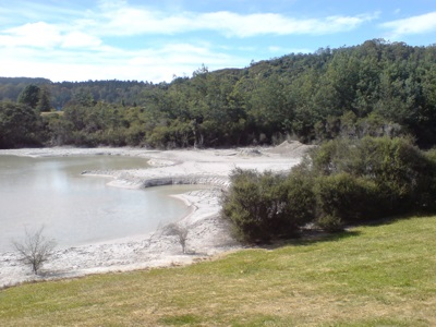 Golf course in Rotorua, New Zealand. The water hazard is a geothermal mudpool
